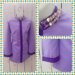Vtg 60s Lavender Boho Tunic